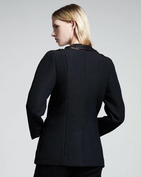 Leather-Panel Zip Jacket