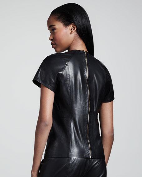 Leather Back-Zip Tee