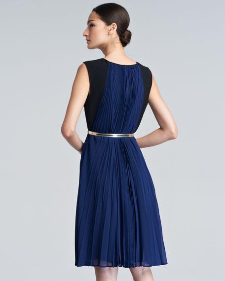 Diarkana Plisse Pleated Chiffon Dress, Blue
