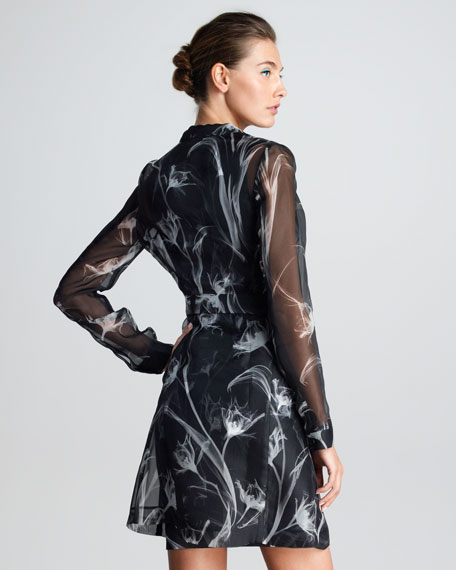 Sheer X-Ray Floral-Print Silk Trench Coat, Black/White