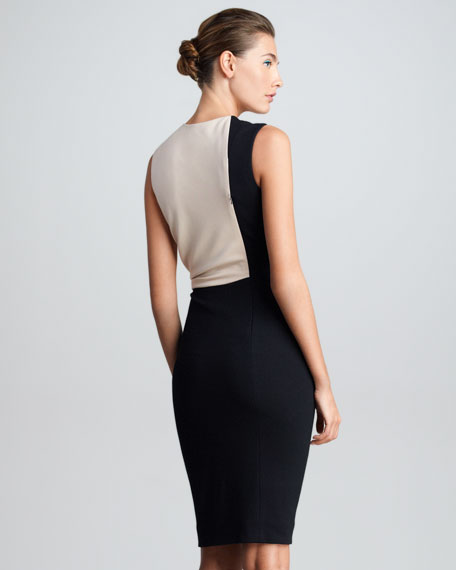 Twisted Techno Jersey Sheath Dress, Nude/Black