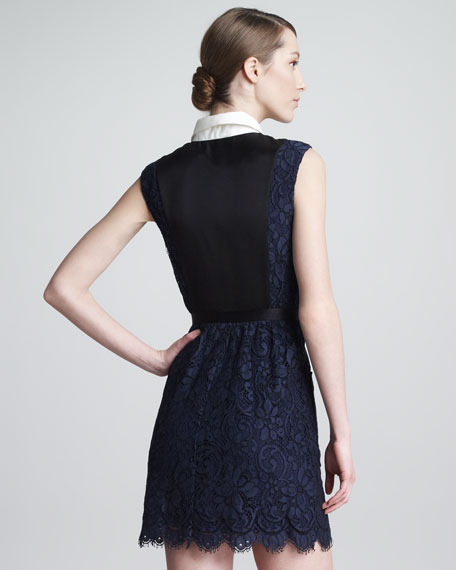 Lace Combo Illusion Shirtdress, Navy/Black