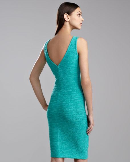 New Shantung Knit Sleeveless Dress, Jade