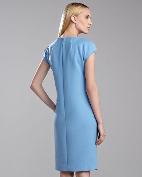Tropical Double-Face Cap-Sleeve Sheath Dress, Amalfi Blue