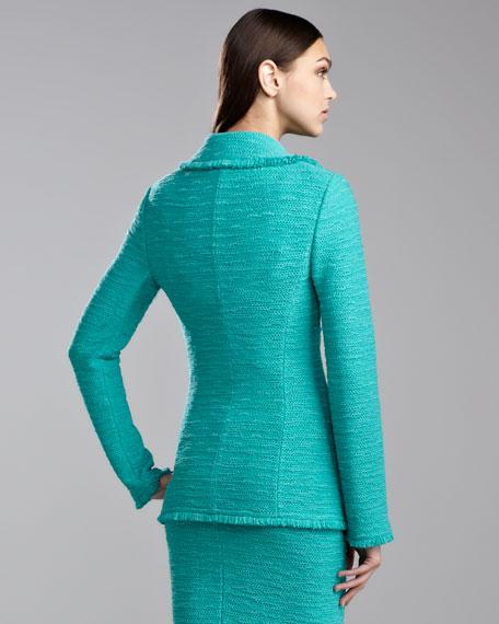 New Shantung Fringe-Trim Jacket, Jade