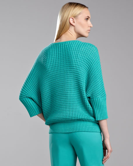 Accordion Ribbed Bateau Sweater, Jade