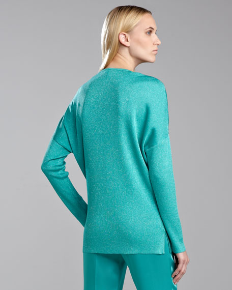 Shimmer Ribbed-Knit Sweater