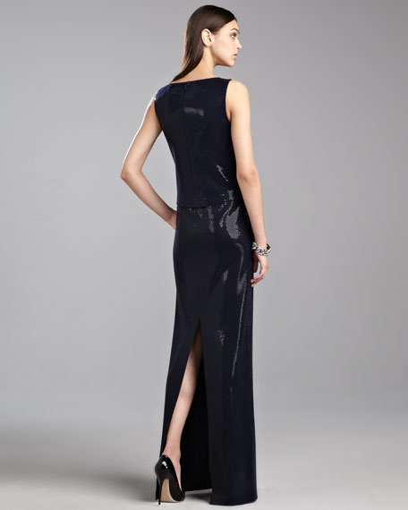 Sequined Milano Bateau Gown, Navy