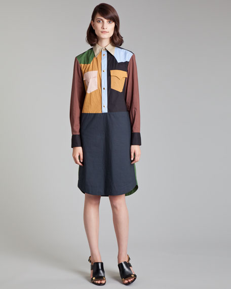 Colorblock Poplin Shirtdress