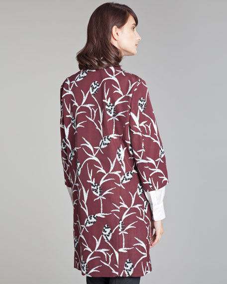 Metallic Floral-Jacquard Coat