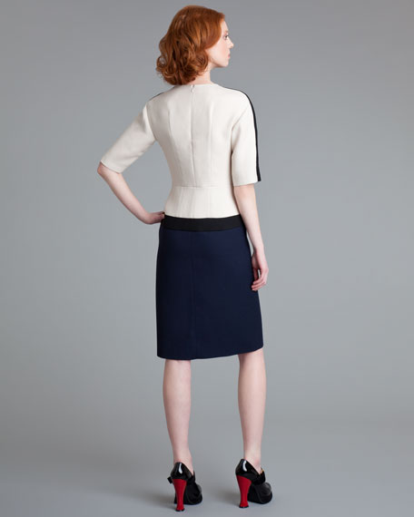 Half-Sleeve Colorblock Dress