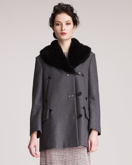 Shearling-Collar Coat