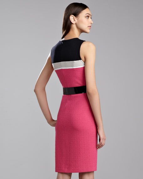 Ticked Boucle Colorblock Dress, Haute Pink