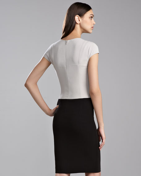 Luxe Crepe Colorblock Dress, Limestone/Caviar