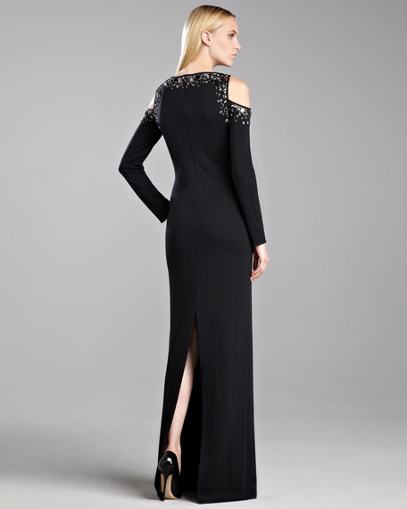 Milano Knit Cold-Shoulder Gown, Caviar