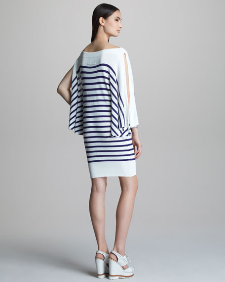 Striped Bateau-Neck Dress
