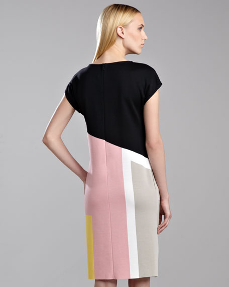 Milano Colorblock Dress, Caviar/Rose/Yellow