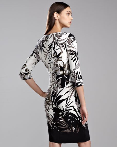 Botanical Floral-Print Wrap Dress, Caviar/White