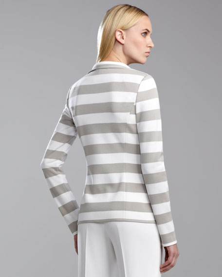 Milano Striped Knit Fitted Jacket, Limestone/White