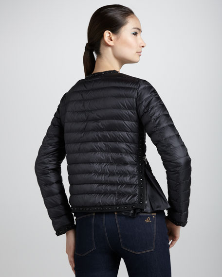 Quilted Stud-Trim Down Jacket