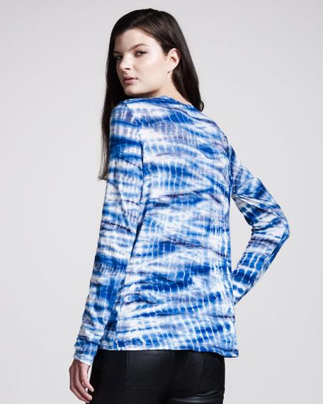 Tie-Dye Tissue Jersey Tee, Blue/Navy