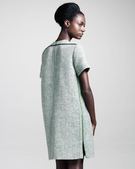 Basketweave Tweed Shift Dress