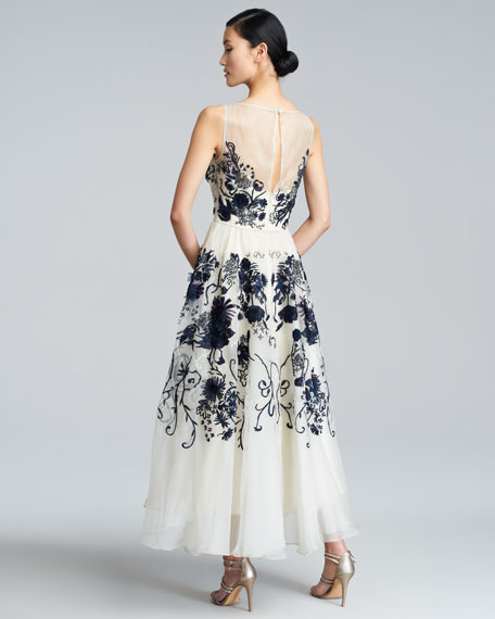 Floral-Embroidered Silk Chiffon Dress