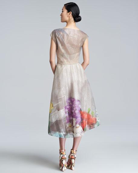 Floral Organza Cap-Sleeve Dress