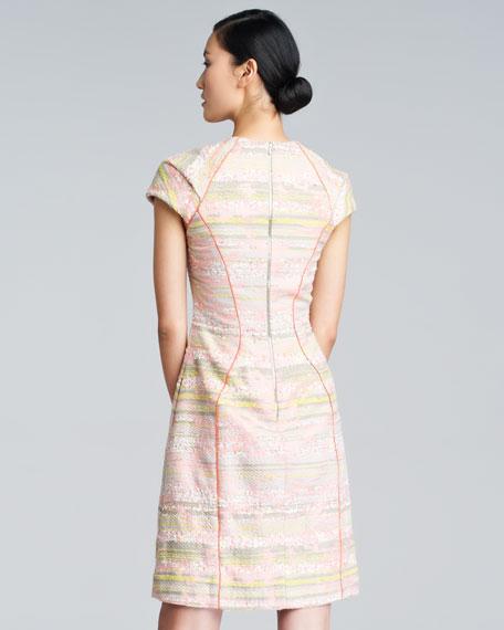 Cap-Sleeve Boucle Dress