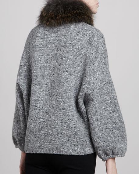 Fox Fur-Neck Knit Jacket