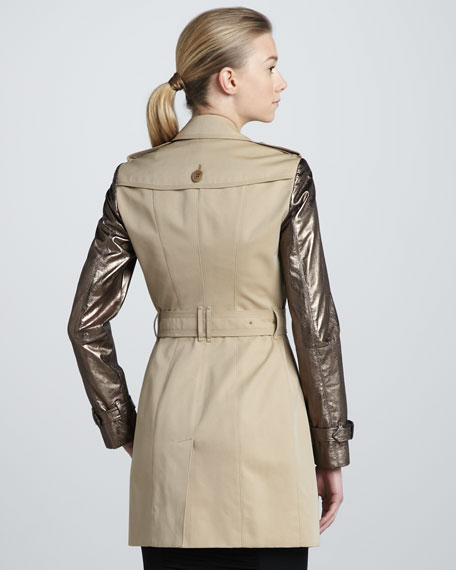 Metallic Leather-Sleeve Trench Coat