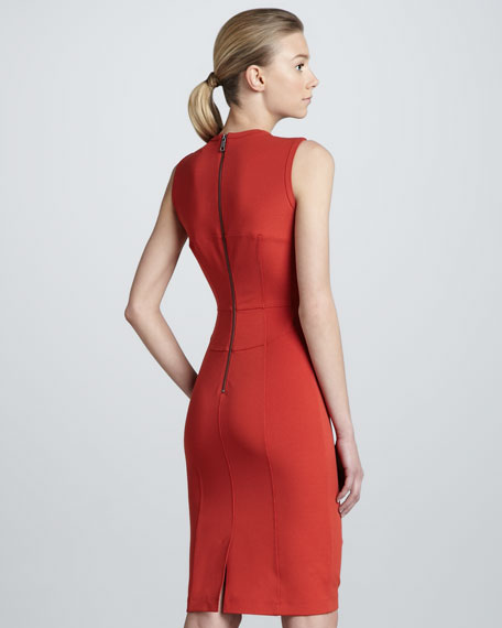Structured V-Neck Sheath Dress