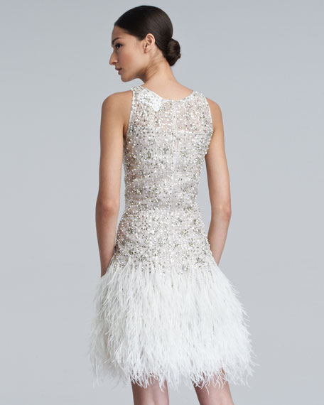 Sparkle Feather-Skirt Dress