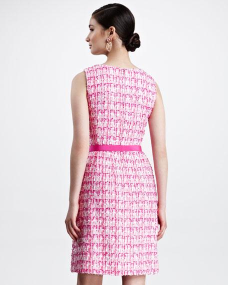 Sleeveless Tweed Dress, Shocking Pink