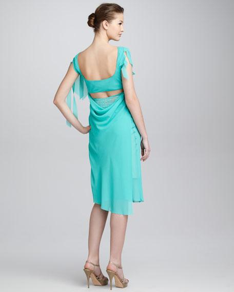 Lace-Bodice Flutter Chiffon Dress, Malachite