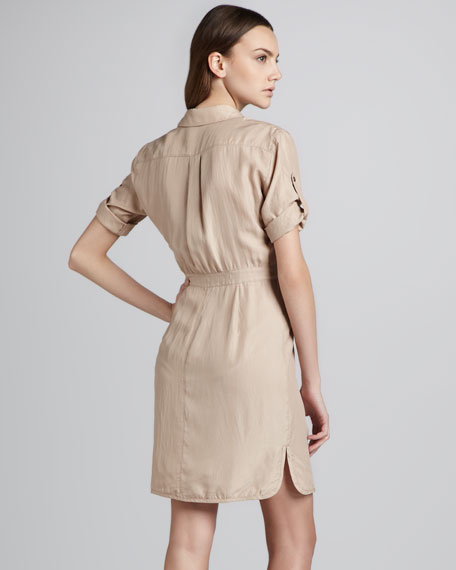 Short-Sleeve Silk Shirtdress