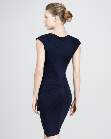 Cap-Sleeve Cowl Dress, Navy
