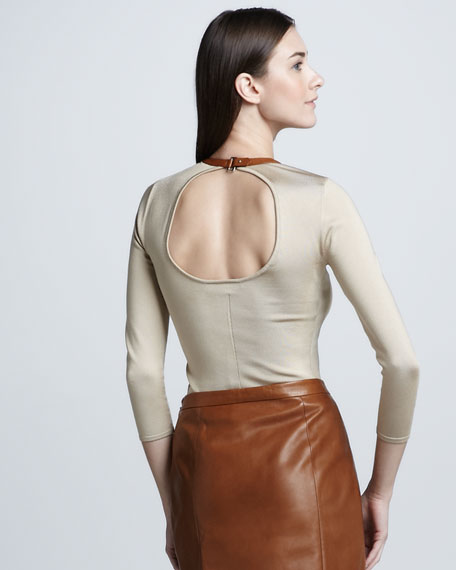 Leather-Trimmed Top, Dune