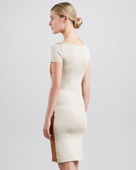 Leather-Front Short-Sleeve Dress, Caramel