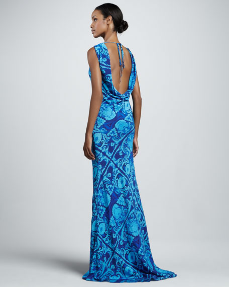Printed Plunging-Back Gown, Azure