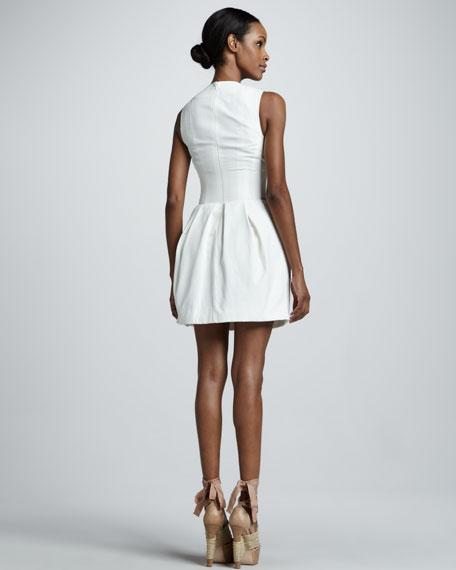 Corseted Cotton Poplin Dress, White