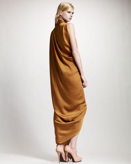 Asymmetric Draped Satin Gown