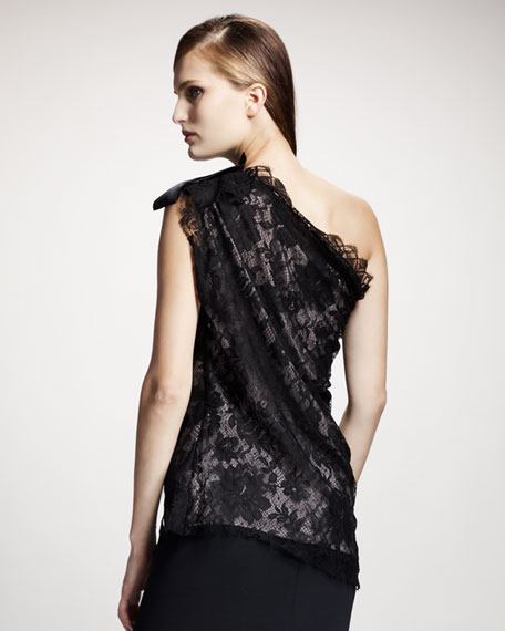 Bow-Shoulder Lace Blouse
