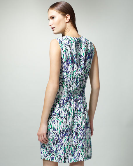 Abstract-Print Gathered Dress
