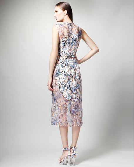 Printed Organza-Overlay Dress