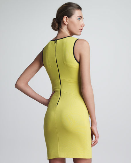 Faux Leather-Trimmed Sheath Dress, Lime