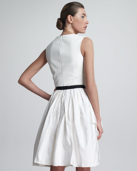 Leather & Silk Dress, Optic White