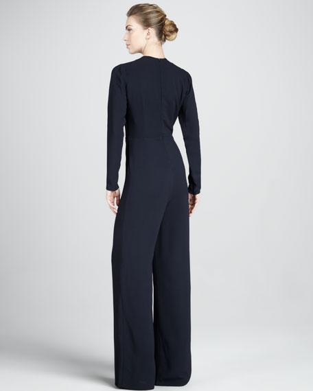 Long-Sleeve Wide-Leg Jumpsuit, Midnight