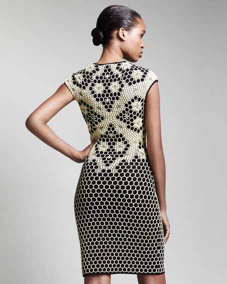 Short Honeycomb Cap-Sleeve Dress, Black/Yellow