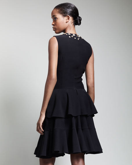 Metal-Embellished Tiered Dress